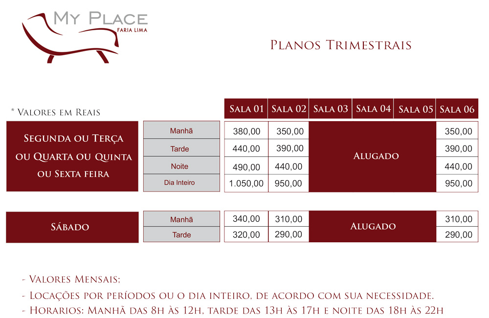 Planos My Place Faria Lima